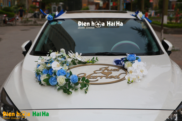 Hoa xe cưới bằng lụa mầu xanh dương Just Married