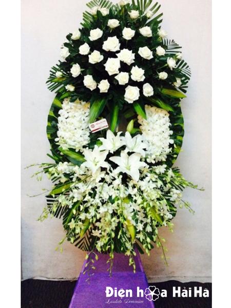 Vòng hoa tang lễ lan trắng