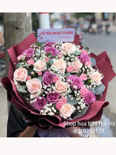 Bó hoa tặng ngày 20-10 hồng tím hồng kem