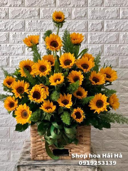 Giỏ hoa tặng ngày 20 tháng 10 hoa hướng dương
