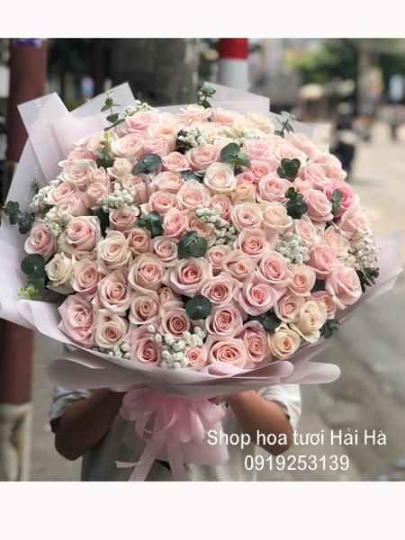 Bó hoa 108 bông hồng kem dịu dàng