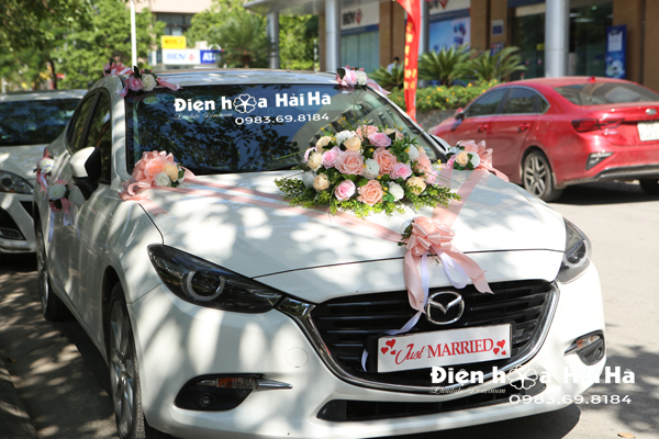 Hoa lụa trang trí xe cô dâu 3 cụm màu hồng 2021