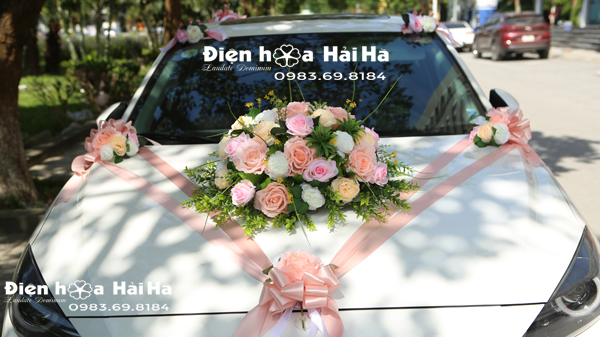 Hoa lụa trang trí xe cô dâu 3 cụm màu hồng 2020