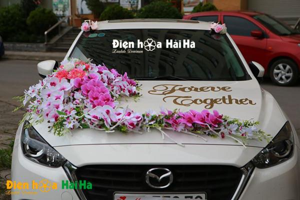Bộ hoa giả gắn xe cưới lan hồng 2021