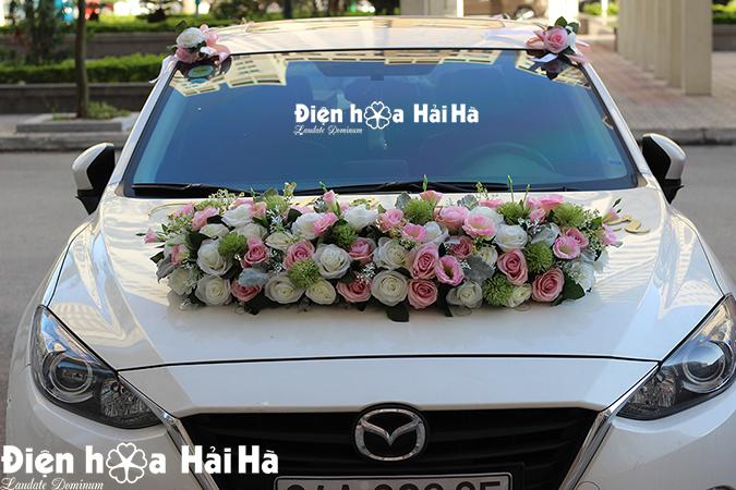 Bán bộ hoa giả xe cô dâu thanh lịch thiết kế mới 2021