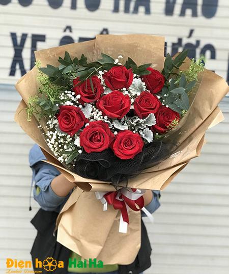 Bó hoa tặng 8/3 hồng đỏ chân thành