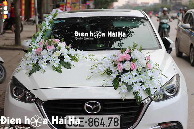 Bán bộ hoa lụa gắn xe cưới song lan thiết kế mới 2021
