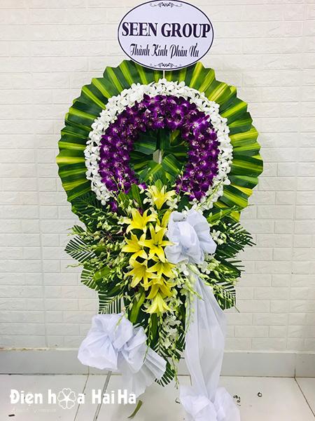 Lẵng hoa phúng điếu lễ tang vòng lan tím trắng giá rẻ