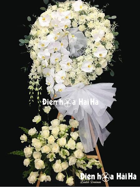 Vòng hoa viếng đám tang hồng trắng hồ điệp cao cấp