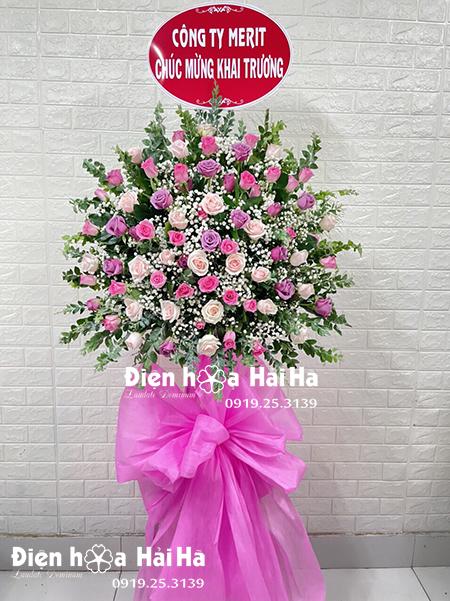 Lẵng hoa khai trương giá rẻ hoa hồng đẹp nhất