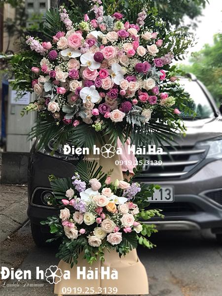 Lẵng hoa đẹp mừng khai trương hoa hồng – Tương Lai Như Ý