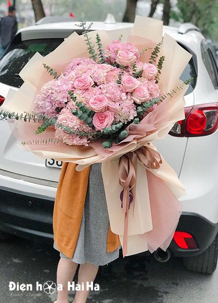 Bó hoa cẩm tú cầu hồng – Kiểu cách