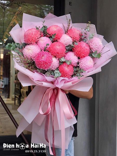 Bó hoa cúc mẫu đơn đẹp – Yêu kiều