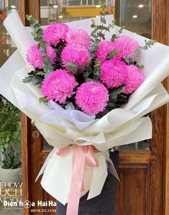Bó hoa cúc mẫu đơn hồng – Đằm thắm