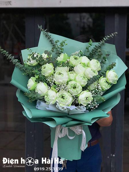 Bó hoa sen Bách Diệp trắng – Bình an