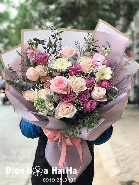 Bó hoa tặng ngày 20/11 hồng sen – Dịu Ngọt