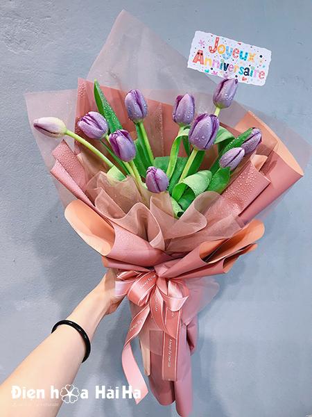 Bó hoa sinh nhật Tulip tím – Quý phái