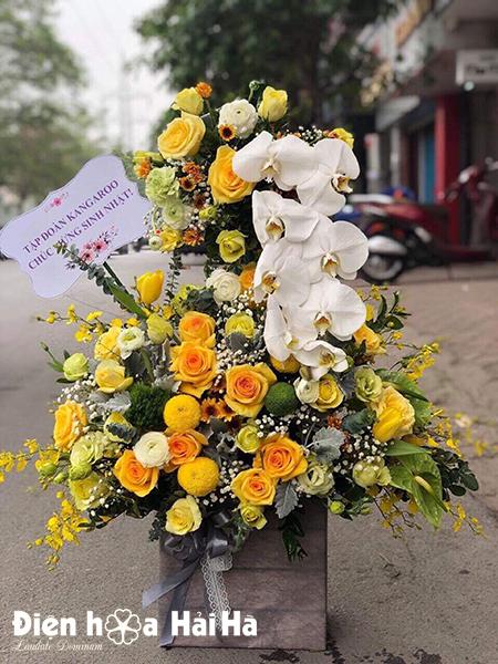 Giỏ hoa sinh nhật 2 tầng – Kim tiền