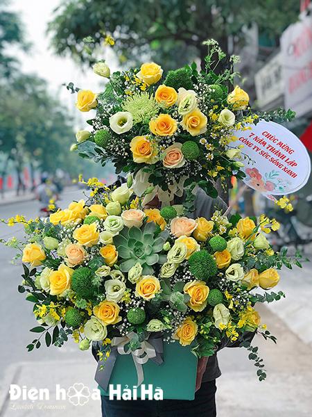 Giỏ hoa sinh nhật đẹp màu xanh – Phát triển bền vững