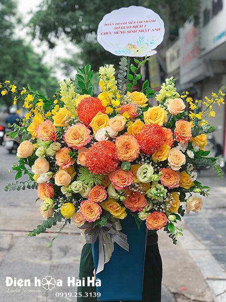 Giỏ hoa sinh nhật đẹp – Đa sắc