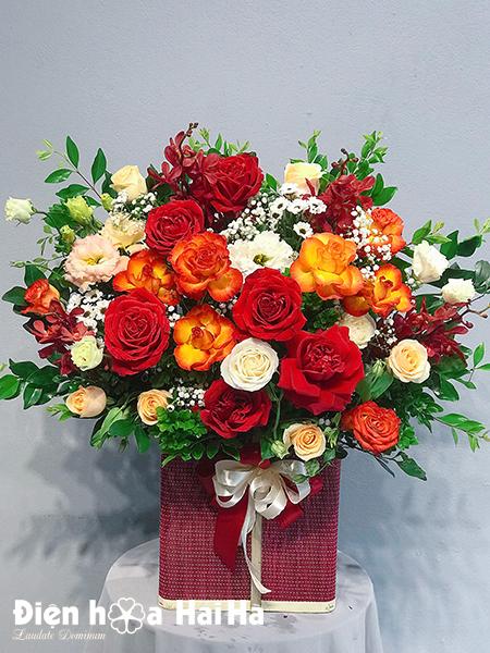 Giỏ hoa sinh nhật màu cam – Nhiệt huyết
