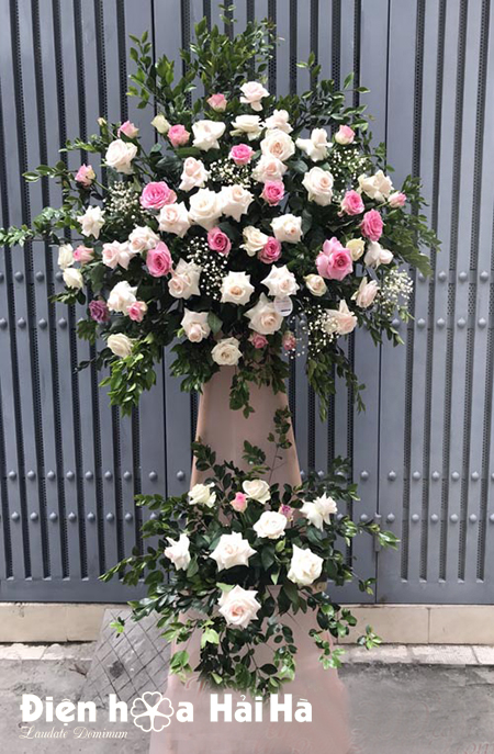 Lẵng hoa khai trương giá rẻ hoa hồng 2 tầng tại Hà Nội